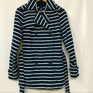 GAP STRIPED DOUBLE BREASTED TRENCH COAT XS